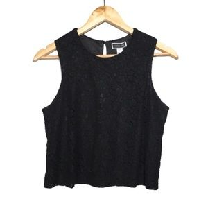 Black Lace Overlay Keyhole Crop Top Another Story